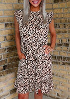 New Clothes Leopard Ruffled Pocket Button Cap Sleeve Casual Dress
