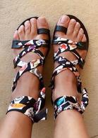 Floral Criss-Cross Flat Sandals