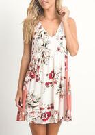 Floral Open Back Ruffled Mini Dress - White