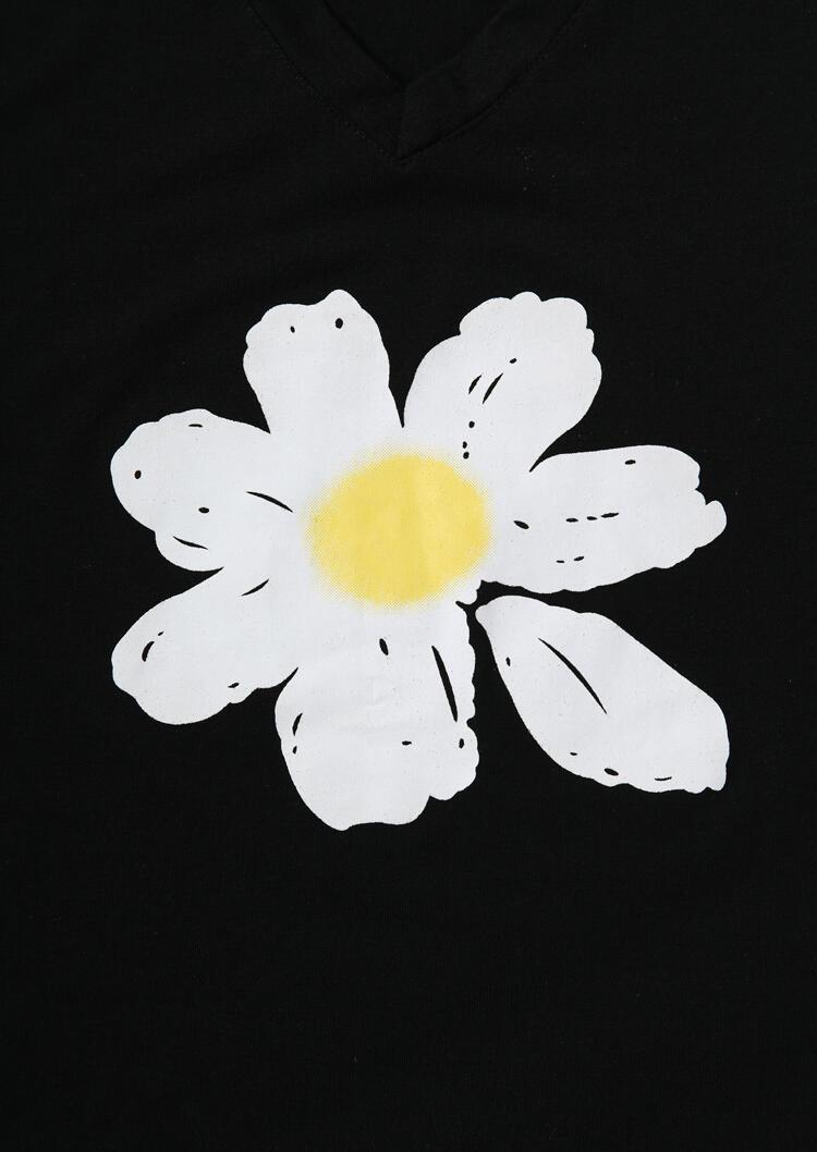 Daisy Floral V-Neck Tank without Necklace - Black