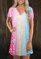 Leopard Gradient Criss-Cross Mini Dress