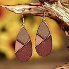 Fairyseason Geometric Color Block Wooden Earrings
