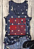Merica American Flag Racerback Tank - Navy Blue