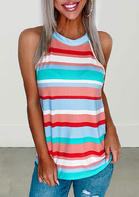 Fairyseason Colorful Striped Splicing O-Neck Tank