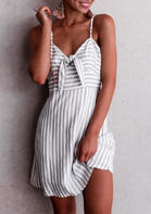 Fairyseason Striped Splicing Tie Spaghetti Strap Mini Dress