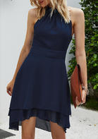 Bellelily Asymmetric Halter Button Zipper Open Back Mini Dress