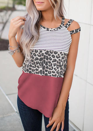 Leopard Striped Color Block Splicing Hollow Out Tank