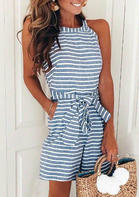New In Striped Splicing Zipper Pocket Halter Romper with Belt