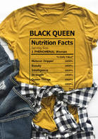 Black Queen Nutrition Facts T-Shirt Tee