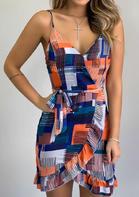 Bellelily Color Block Ruffled Wrap Open Back Spaghetti Strap Mini Dress