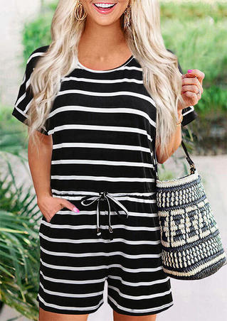 Striped Button Drawstring Pocket O-Neck Romper
