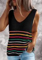Fairyseason Striped V-Neck Knitted Tank