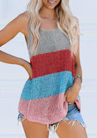 Bellelily Color Block Knitted O-Neck Camisole