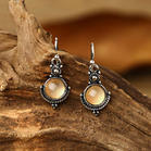 Fairyseason Vintage Round Stone Pendant Earrings