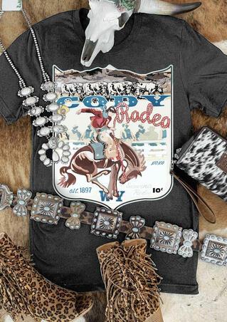 Western Cowboy Cody Rodeo T-Shirt Tee - Gray