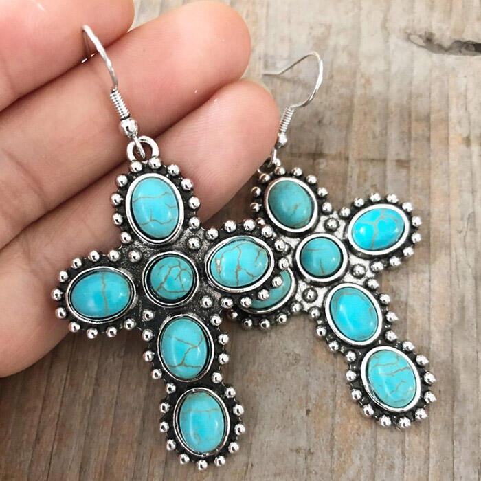 Vintage Turquoise Cross Earrings - Cyan