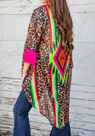 Fairyseason Aztec Leopard Splicing Irregular Cardigan
