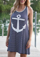 Fairyseason Striped Splicing Anchor Sleeveless Mini Dress