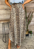 Fairyseason Leopard Asymmetric Long Skirt