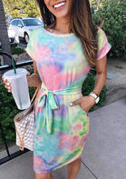 Bellelily New Arrivals Tie Dye Pocket Tie Mini Dress