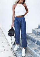 Ruffled Wide Leg Elastic Waist Jeans Denim Pants