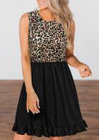 Leopard Splicing Ruffled Button Sleeveless Mini Dress