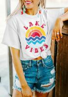 Lake Vibes Rainbow Wave T-Shirt Tee