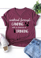 Bellelily Weekend Forecast Camping With A Chance Of Drinking T-Shirt Tee