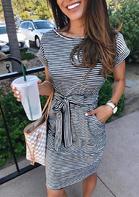 Bellelily Striped Pocket Tie Mini Dress
