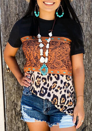 Leopard Buckstitch Color Block T-Shirt Tee without Necklace