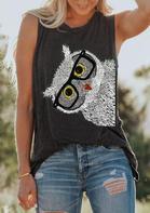 Presale - Owl Glasses O-Neck Tank - Dark Grey