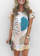 Presale - Leopard Splicing Color Block Mini Dress