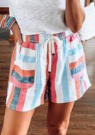 Presale - Striped Pocket Tie Drawstring Shorts