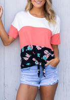 Presale - Color Block Floral Tie T-Shirt Tee - Pink
