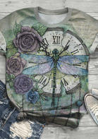 Presale - Floral Dragonfly Clock T-Shirt Tee