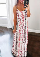 Lips Leopard Striped Splicing Spaghetti Strap Maxi Dress
