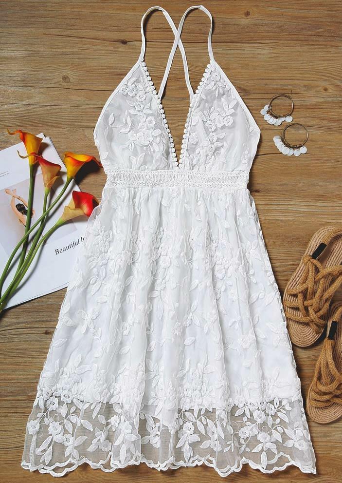 Floral Lace Splicing Open Back Spaghetti Strap Mini Dress - White
