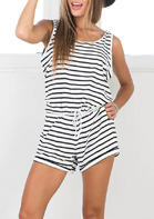 Bellelily New Style - Striped Drawstring Sleeveless Romper