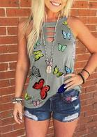 Butterfly Hollow Out Halter Tank