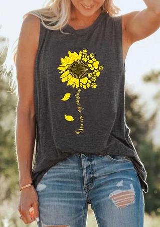 You Are My Sunshine Sunflower Tank - Dark Grey