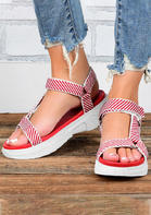 Striped Hollow Out Round Toe Wedged Sandals