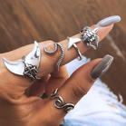 5Pcs Geometric Turtle Fish Tail Ring Set
