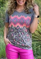Leopard Aztec Geometric Splicing T-Shirt
