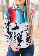 Colorful Striped Cow Splicing Zipper Collar Sweatshirt