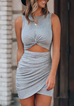Hollow Out Twist Bodycon Dress - Gray