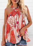 Floral Ruffled Button Halter Blouse