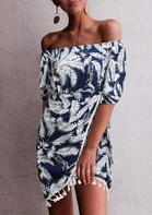Leaf Tassel Off Shoulder Tie Mini Dress