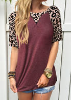 Leopard Splicing O-Neck T-Shirt Tee