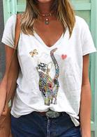 Cat Butterfly Heart T-Shirt Tee