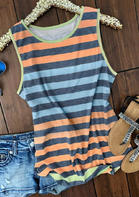 Colorful Striped O-Neck Tank